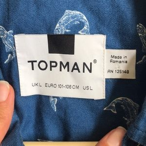 Topman Shirts - Topman blue fish button down shirt large